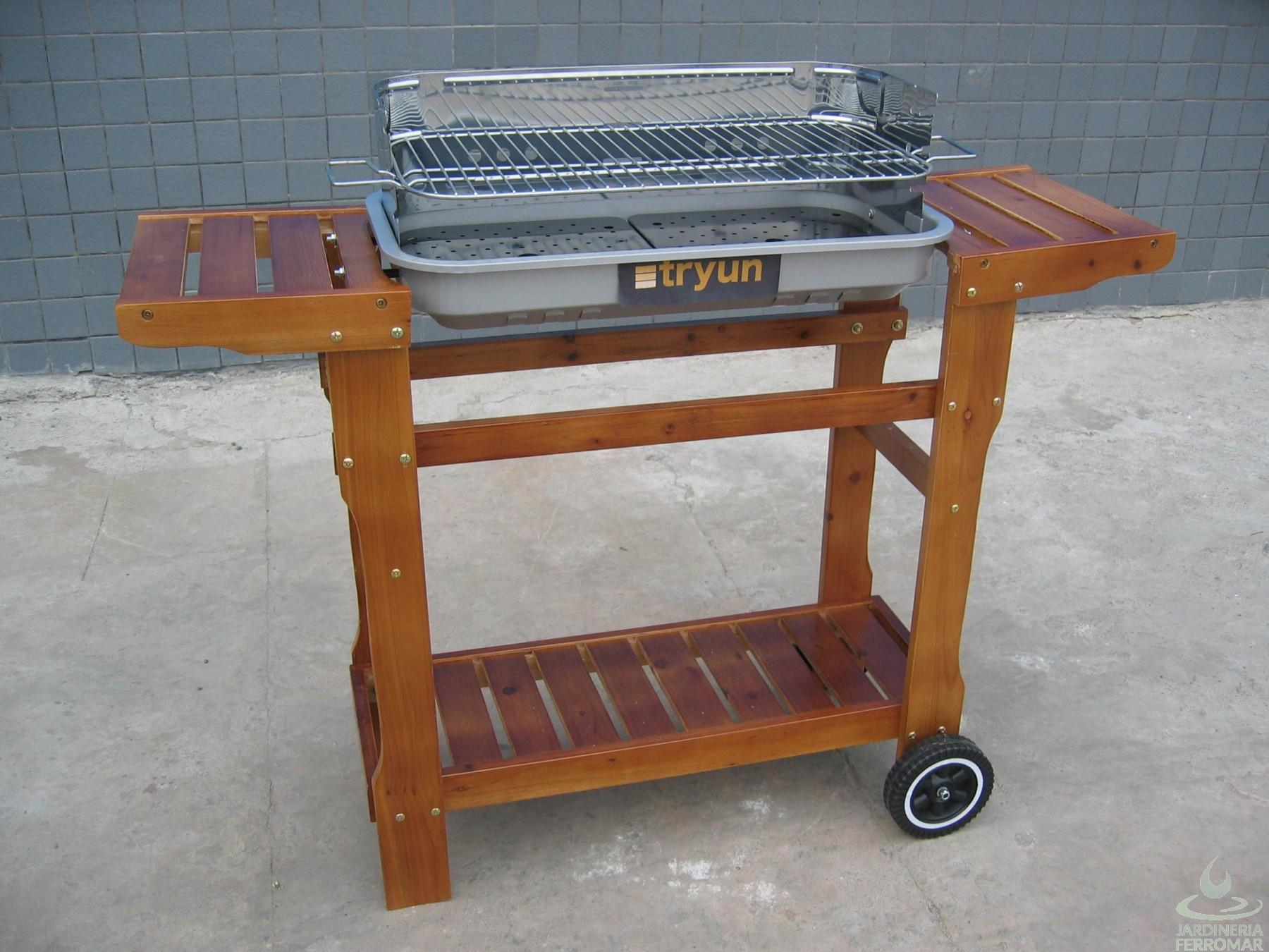 Tryun alberche barbacoa carbon rectangular acero carro for Piscinas ferromar